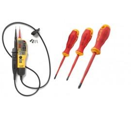 Fluke T150/VDE + 3 ks Fluke šroubováky - zkoušečka napětí a propojení s LED a LCD